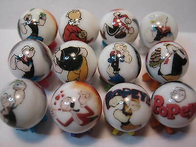 POPEYE OLIVE OIL BRUTUS SWEET PEA ect. GLASS MARBLES 5/8SIZE COLLECTION + stands