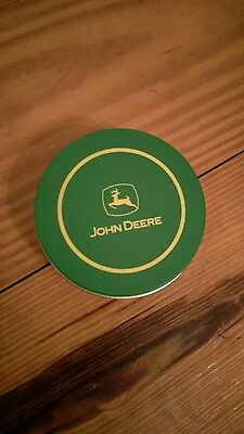 6 New John Deere Green Round Beverage Coasters Metal On 1 Side Cork On Reverse