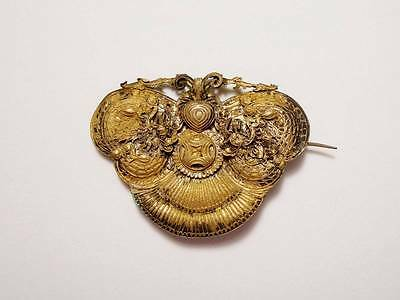 ANTIQUE VTG CHINESE EXPORT SILVER FILIGREE FIGURAL MOTH DRAGON BROOCH PIN c.1800
