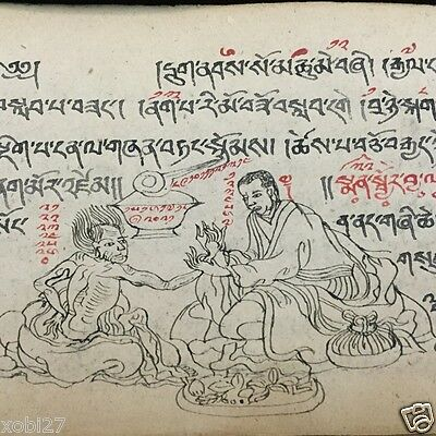 Antique Tibetan Buddhist Handwritten Astrological Manuscript With Pictures