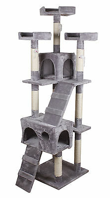 Large Cat Tree Activity Center Scratches Scratching Post Sisal With Toys Grey