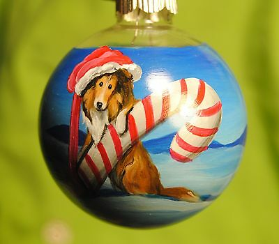 Original Painting~Collie~Dog~Christmas Ornament~Hand Painted~Whimsical~Candy