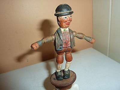 Vintage Italian 9.8Cm Anri Bottle Stopper Of A Wooden Man/hat With Movable Parts