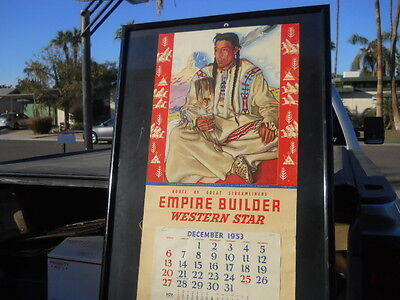 1953 GREAT NORTHERN Railway RAILROAD Calender Native Blackfoot Indian Middle Rid