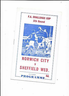 Pirate Norwich City v Sheffield Wednesday FA Cup 5th Round 1967
