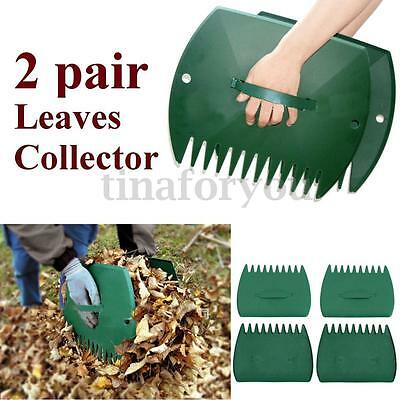 2 Sets 4pcs Leaf Rake Lawn Leaves Collector Grass Hand Claws Garden Yard Tool