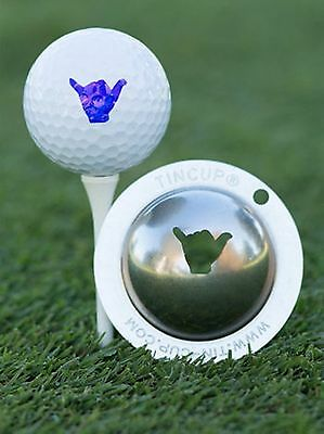 1 only TIN CUP GOLF BALL MARKER - HANG LOOSE   EASY TO DO & YOURS FOR LIFE