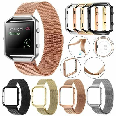 Stainless Milanese Steel Magnetic Loop Wrist Band Strap + Frame For Fitbit Blaze