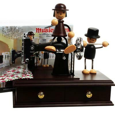 Doll Push Wheel Sewing Machine Music Box Home Room Decoration Collectibles