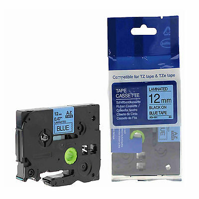 "1PK TZe531 TZ-531 Black On Blue Label Tape For Brother P-Touch 1/2"" 12mm"