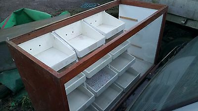 RETRO 1970s HABERDASHERY SHOP COUNTER CABINET DRAWER DISPLAY UNIT FOR REPAIR