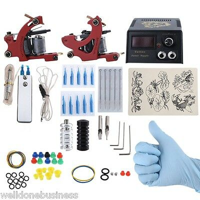 New Complete Tattoo Kit DIY 2 Tattoo Machines Power Supply System