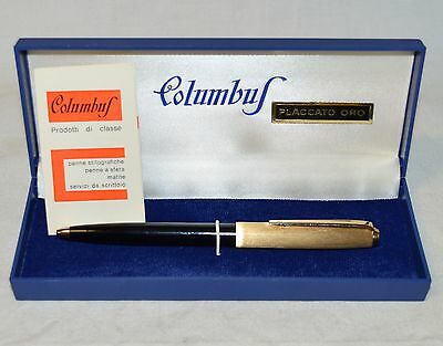 ANTICA PENNA SFERA Columbus ORO epoca COLLEZIONE Gold OLD BALLPOINT PEN BOX or