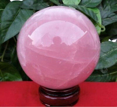THE BEST NATURAL 40mm rose quartz crystal sphere + stand