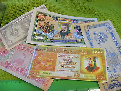 Lot of 11 Chinese Hell Banknotes ..Temple Money...Mixed lot.