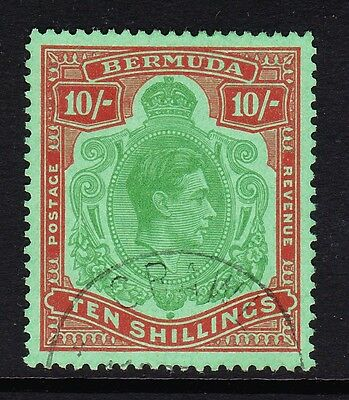 BERMUDA 1938-53 10/- GREEN & DULL RED PERF 13 SG 119f FINE USED.