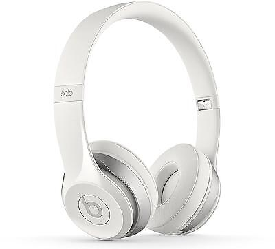 Beats Solo2 Gloss White Headphones - Genuine Beats By Dre Wired Headphones