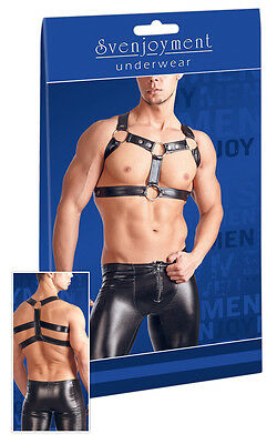 Svenjoyment Herren Brust Harness Riemen Gr. L / XL Schwarz Wetlook |49