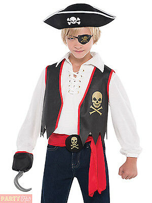 Boys Pirate Costume Child Captain Hook Fancy Dress Book Week Deckhand Outfit