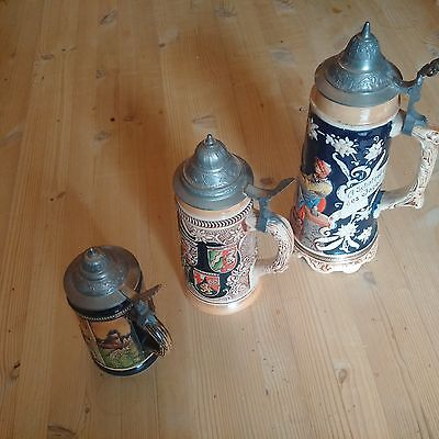A Collection of 3 Vintage German Beer Stiens