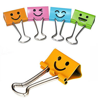10pcs Cute Smile Metal Binder Clip Notes Letter Paper Books Office School 19mm