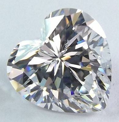 A PAIR OF 8mm HEART-FACET ICE-WHITE CUBIC ZIRCONIA GEMSTONES £1 NR!