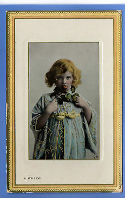 Old Vintage Tuck Postcard Young Girl Big Holding A Flower A Little Eve