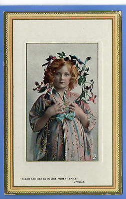 Old Vintage Tuck Postcard Young Girl Big Holding Flowers Eyes Like Purest Skies