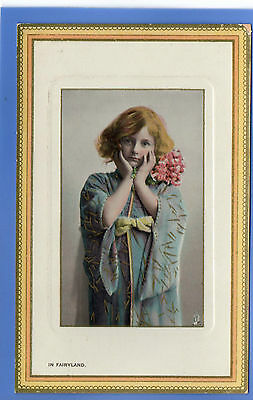 Old Vintage Tuck Postcard Young Girl Big Holding Flowers In Fairyland