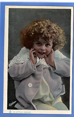 Old Vintage Tuck Postcard Young Child Curly Hair A Little Rogue Happy Childhood