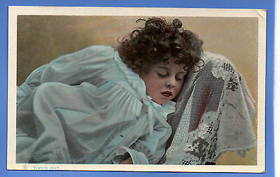Old Vintage Tuck Postcard Young Child Curly Hair In Nightgown Tired Out