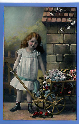 Old Vintage Tuck Postcard Pretty Young Girl With Wheelbarrow Of Flowers