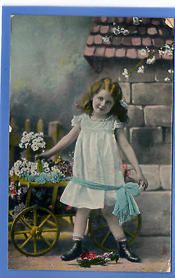 Old Vintage Tuck Postcard Pretty Young Girl With Wheelbarrow White Dress