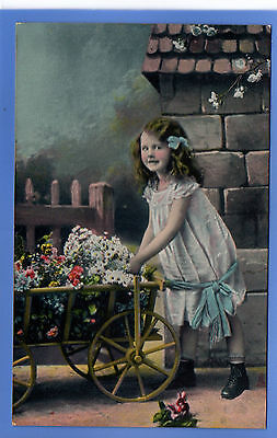 Old Vintage Tuck Postcard Pretty Young Girl With Wheelbarrow Selling Flowers