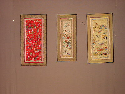 3Wonderful Old Silk Embroided Chinese Panels **** Hg****