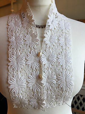 Vintage 1940 Dickey/collar/ Front Of Blouse Guipure Lace Floral Old Stock