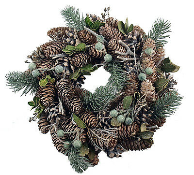 Christmas Wreath Door Decoration Real Pine Cones And Artificial Fir Twigs