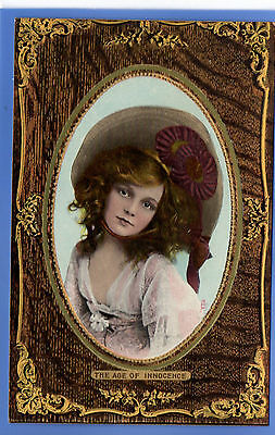 Old Vintage Tuck Postcard Pretty Young Girl Big Hat The Age Of Innocence
