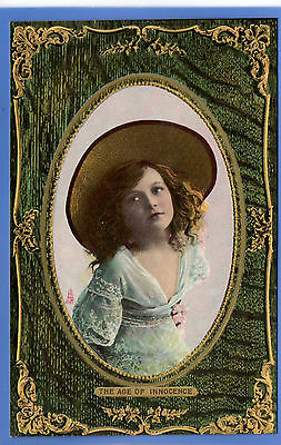 Old Vintage Tuck Postcard Young Girl Big Hat Lace Dress The Age Of Innocence