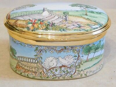 HALCYON DAYS Enamel Musical Box ~ The Wedding March ~ Oval ~ Blue Lined Box.