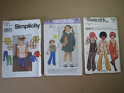 Lot of 3 VINTAGE CHILD OUTFIT PATTERNS (1970/90s)