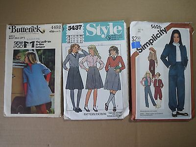 Lot of 3 VINTAGE GIRLS OUTFIT PATTERNS (1980s)