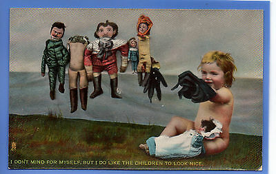 Old Vintage Tuck Postcard Young Girl Playing With Dolls Children To Look Nice