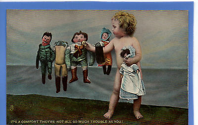 Old Vintage Tuck Postcard Young Girl Playing With Dolls Sitting On A Ledge