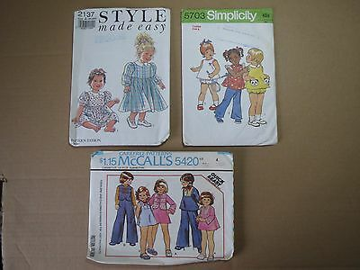Lot of 3  TODDLERS OUTFIT PATTERNS (1970/1990s)