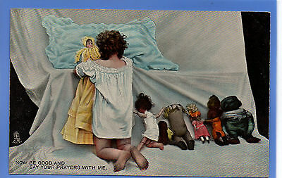 Old Vintage Tuck Postcard Young Girl Playing With Dolls Saying Prayers
