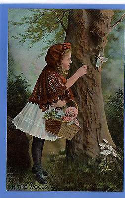 Old Vintage Tuck Postcard Young Girl Butterfly Flowers In The Woods Children