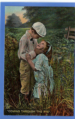 Old Vintage Tuck Postcard Young Girl & Boy Coming Through The Rye Children