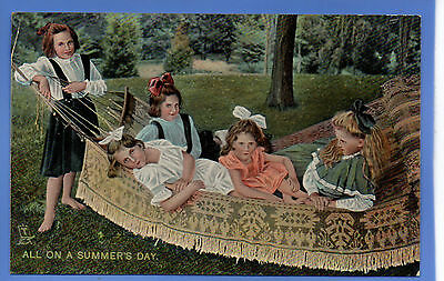 Old Vintage Tuck Postcard Young Girls On Garden Hammock All On A Summer's Day