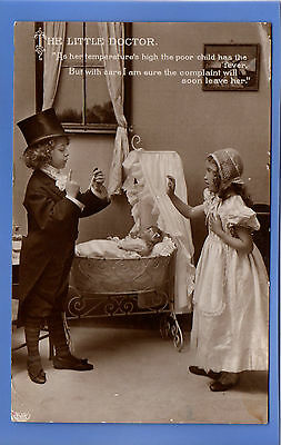Old Vintage 1910 Rp Postcard The Little Doctor Poorly Baby In Cot With Fever